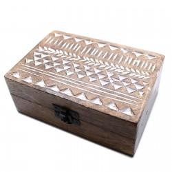 Duże drewniane pudełko - Aztecki wzór